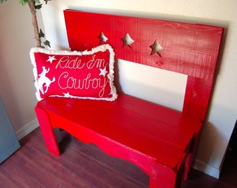 Country Wood Bench House Entry Bench Red Star Bench Wooden Bench. Hand Painted Wood Bench. Wood Furniture. Country Home Furniture Gift