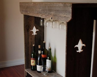 Console Table MINI BAR. Wine Rack Table. Hanging Wine Glass Shelf. Recycled Wood Furniture. Rustic Furniture. Fleur De Lis Decor. Wood Bar