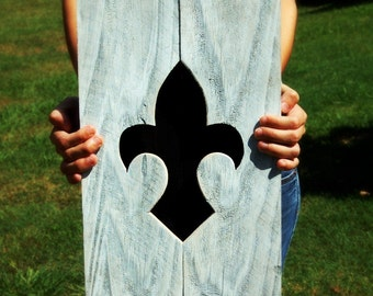 Wood Wall Art. 3d Fleur De Lis Silhouette. Black and White Recycled Wooden Trueconnection Wall Hanging Entry Wall Decor Living Room Bath