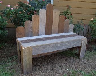 Country Living Bench. Large Recycled Wood Bench. Fan Back Bench. Garden Decor, Garden Bench. Sitting Bench. Wooden Bench