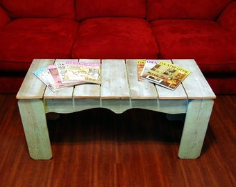 Wood Coffee Table. ANY COLOR COMBO Shabby Wood Furniture. Colorful Table. Cottage Table. Painted Furniture Rustic Farmhouse Tables