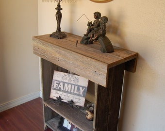 Rustic Console Table. Wood Farmhouse Table. Storage Shelf. Hall Table. Entry Table. Reclaimed Wood Furniture. 30x13x34 Lake House Furniture