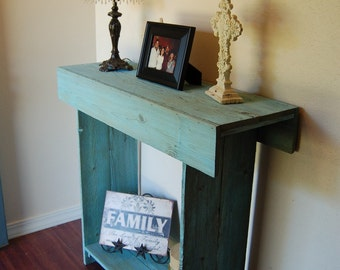 Console Table in Ocean Blue Cedar Wood Wall Table. Entry Table. 30x11x30 Colorful Home Decor. Beach House. Sea Blue Table