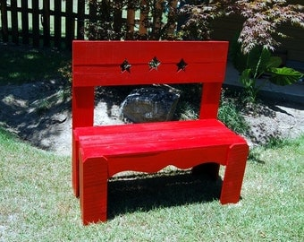 Country Bench Lovey Home Decor Fire Engine Red Entry way Bench Wooden bench by Trueconnection