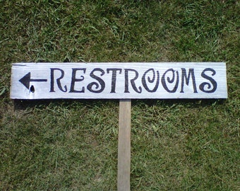 Vintage Wedding Sign LARGE FONT Recycled Wood Directional Arrow With A Stake. Hand Painted Wedding Sign. Black and White