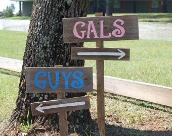 Wedding Bathroom Sign. Wedding Sign. Restroom Sign, Directional Sign. His and Hers Wood Wedding Signs Reception Signs. Country Wedding
