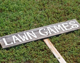 Lawn Games Signs, Games Sign, Camping Signs,Wedding Signs, Party Signs, Smores Sign, Recycled Wood Rustic Signs Outdoor Signs, Travel