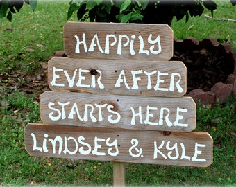 Happily Ever After Starts Here Wedding Sign With Names Outdoor Wedding Decorations Hand Painted Signs. Rustic Wedding Signs Wooden Sign