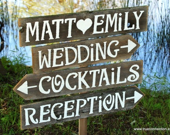 Wedding Signs AND Stake Reclaimed Wood Signs. Reception Signs. Parking Signs. Restrooms Sign. Rustic Wedding Outdoor Signs Directional Signs