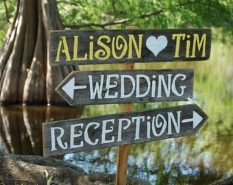 Personalized Wedding Sign, Wooden Wedding Sign, Wedding Decor, Reception Sign, Wedding Direction Sign, Custom Wood Sign, Country Wedding