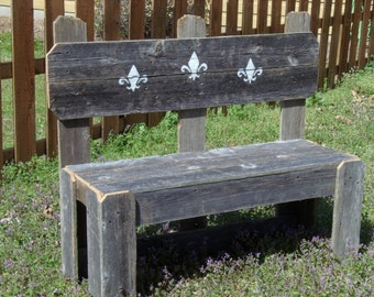 Large Wood Bench.  Hand Painted Back. YOU PICK DESIGN. Rustic Wood Bench. Country Bench. Garden Bench. Birds, Humming Birds, Flowers, Etc...