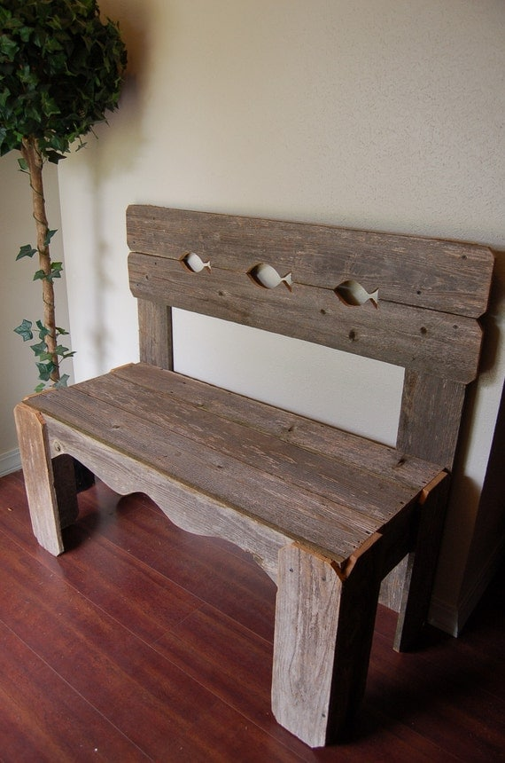 Lake House Rustic Bench Fish Back Reclaimed Cedar