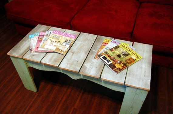 Coffee Table Farmhouse Distressed White and Pistachio Green Reclaimed ...