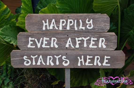 Happily Ever After Starts Here Wood Wedding Signs. Rustic Wedding. Eco Wedding Reception Signs Wedding Signs on Stake.