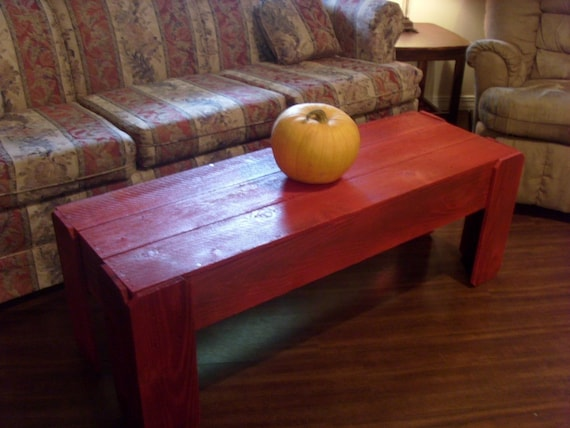 Items Similar To Coffee Table Brilliant Red Build From Cedar Wood Red Bench Farmhouse Wood
