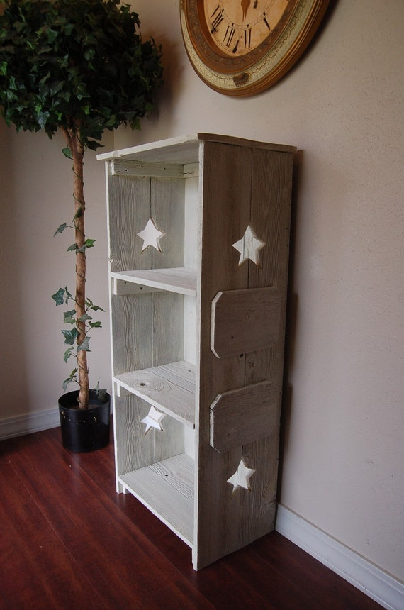 Wood bookcase. ANY COLOR Wood Shelf. Star Bookcase. Star Shelf. Rustic Wood Furniture. Country Wood Bookcase. Primitive Bookcase.