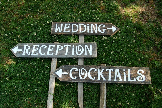 Receptions Sign, Wedding Sign, Cocktails Sign, Bar Sign, Yard Party Signs, BBQ Sign, Road Signs, Guest Signs Follow Arrow Signs, Wood Signs
