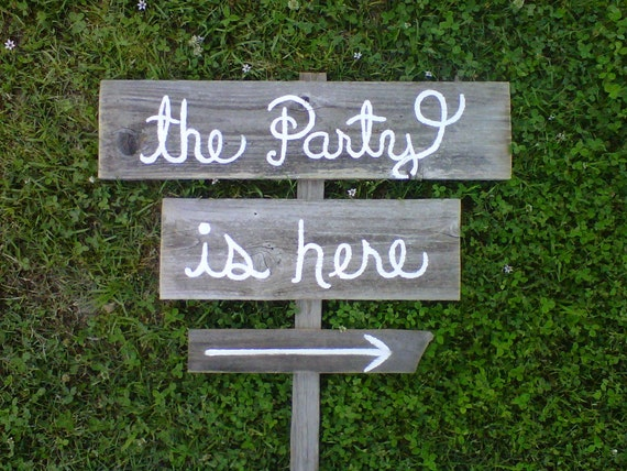 Party Sign. Kids Party Sign, Party Signs, Rustic Signs, Directional Arrow Sign. Road Signs, Street Sign. Eco Friendly Signs