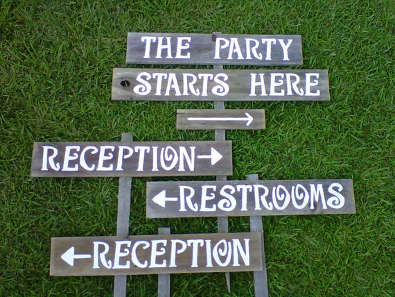 Package Wedding Signs LARGE. Reception Sign. Restrooms Sign. The Party Is Here Sign. 6 Signs With 4 Stakes. Recycled Wood Signage. Farm Barn