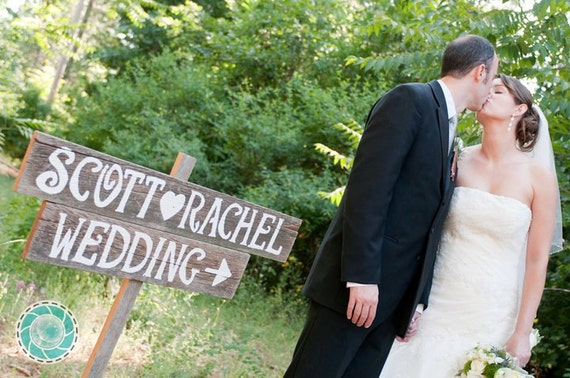 Wedding Signs LARGE FONT 2 With A Stake. Hand Painted Reclaimed Wood. Rustic Weddings. Vintage Weddings. Road Signs.