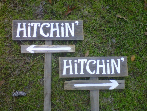 Hitched Wedding Signs 2 Directional Signs with 2 stakes. Recycled Wood Signs. Receptions Signs. Road Signs. Outdoor Wedding Decorations