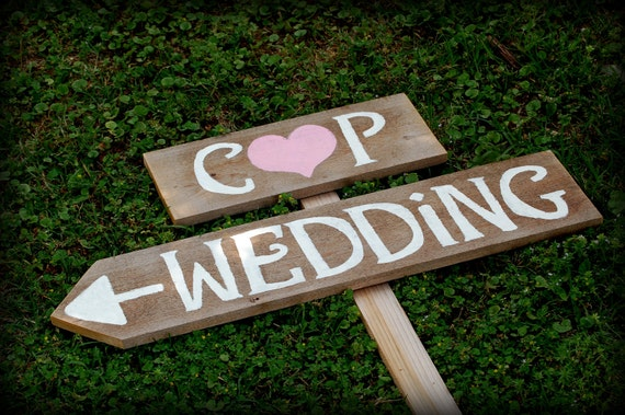 Rustic Wedding Signs Romantic Outdoor Weddings Intials LARGE