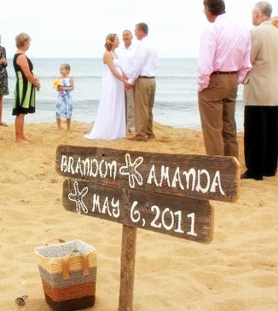 beach wedding signs starfish sign wedding sign beach front