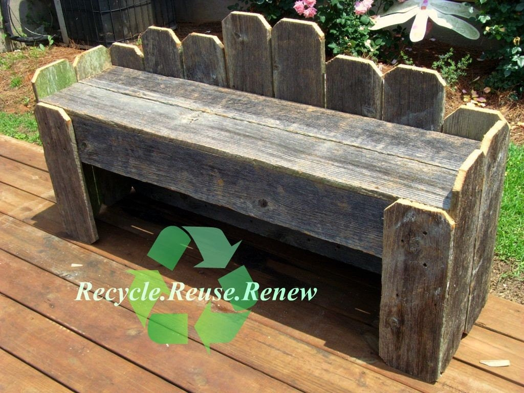 long cottage garden bench old recycled wood made to order. Black Bedroom Furniture Sets. Home Design Ideas