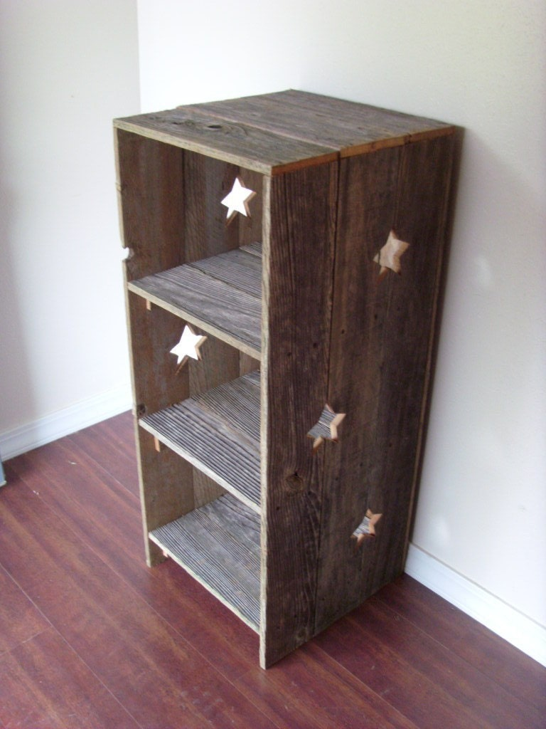 Large wood bookcase star shelf country