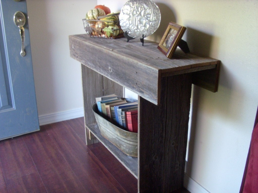 Entry Table With Storage entry table reclaimed wood. console table with storage shelf.