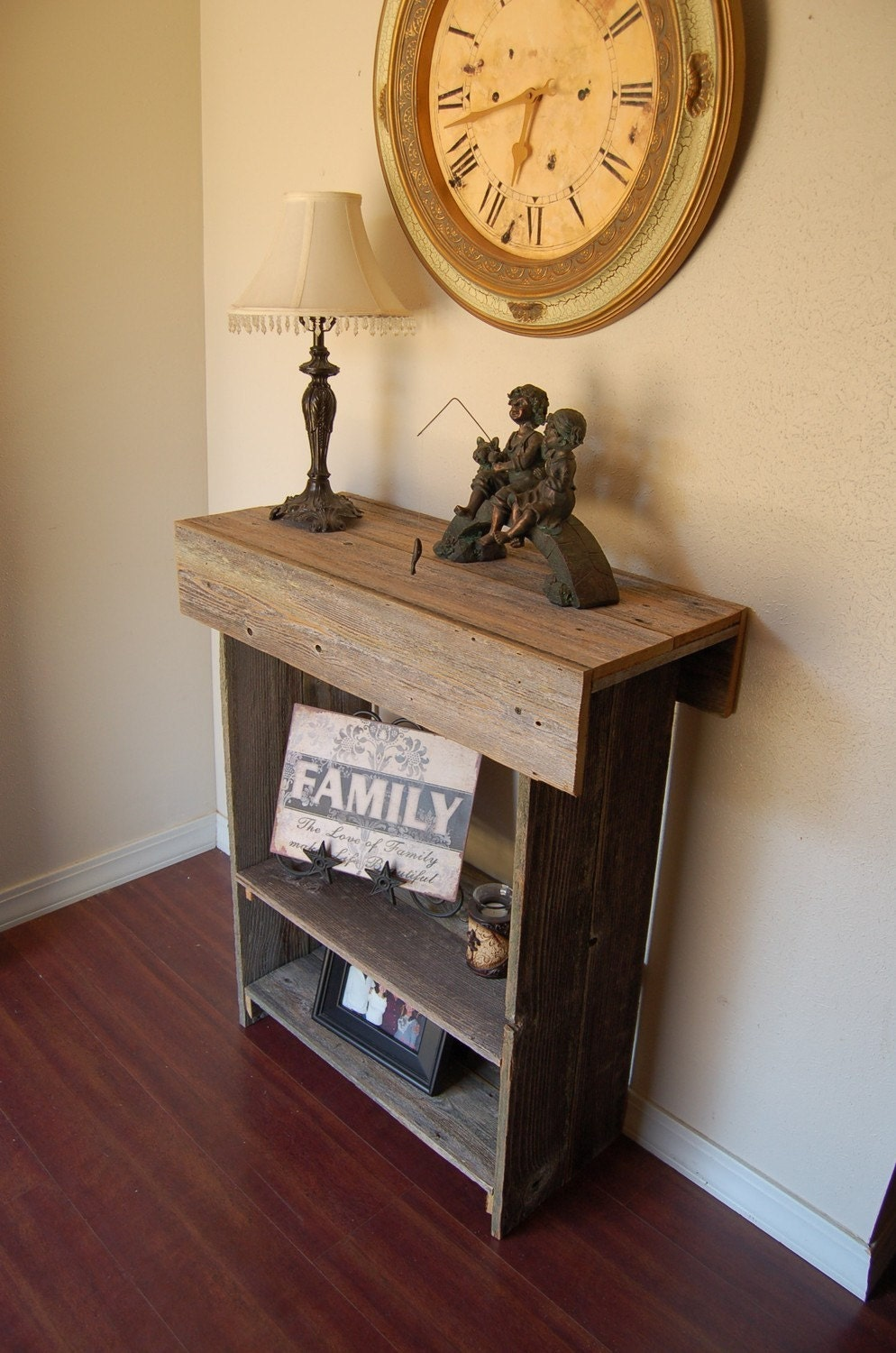 Wood Farmhouse Table. Storage Shelf. Hall Table. Entry Table - Lake House Furniture Etsy