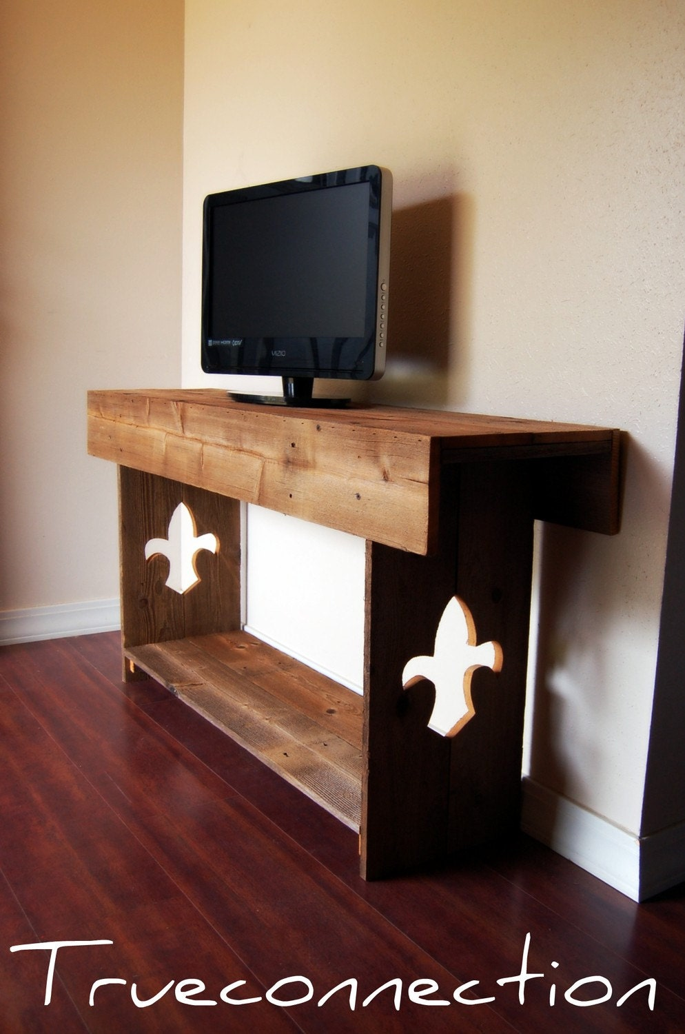 Reclaimed Wood Tv Stand With Fleur De Lis Legs By Trueconnection