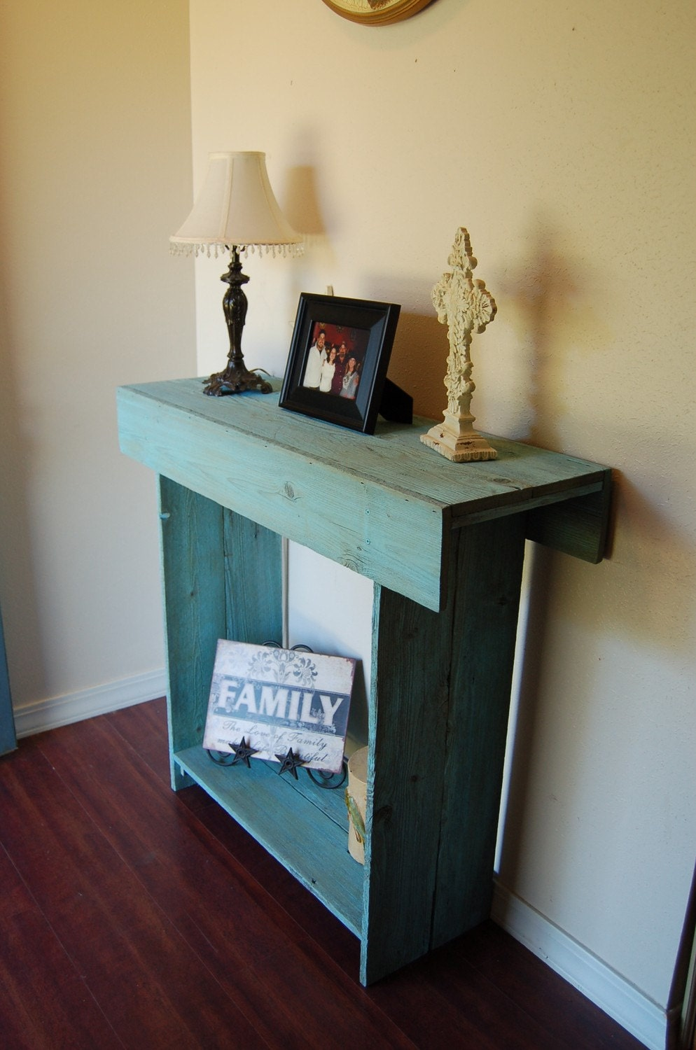 Console Table In Ocean Blue Cedar Wood Wall Table Entry