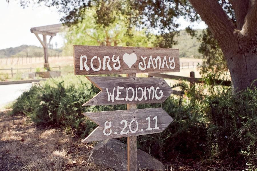 Wood Directional Wedding Signs Outdoor Wedding Decorations