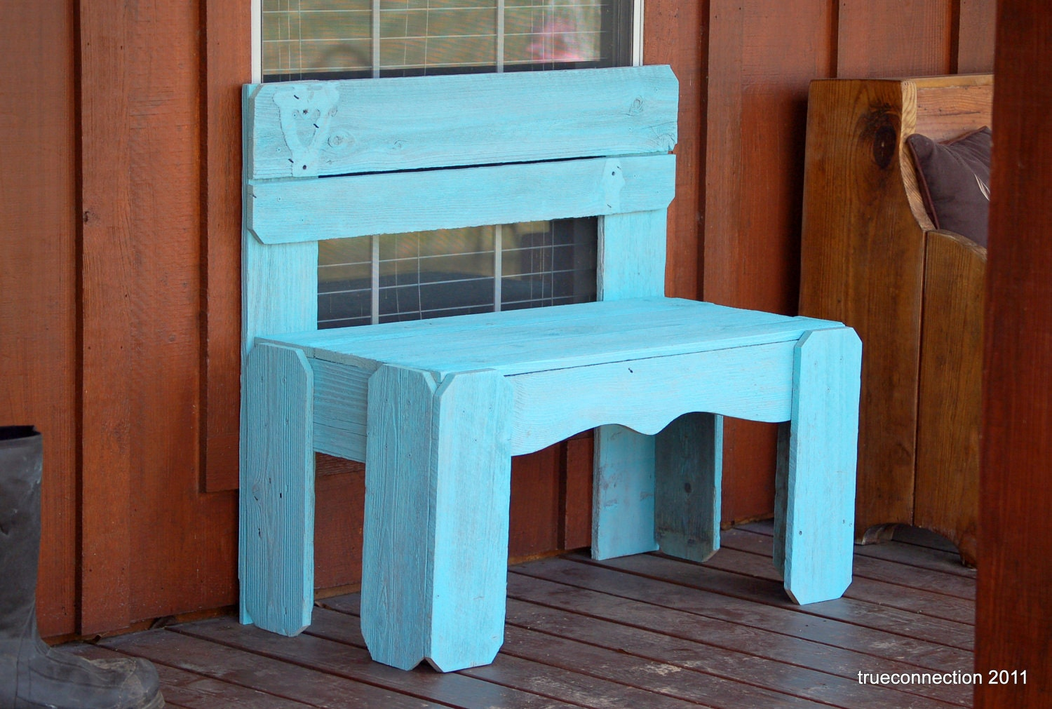 Wooden Bench Any Color Entry Bench Turquoise Blue Wood