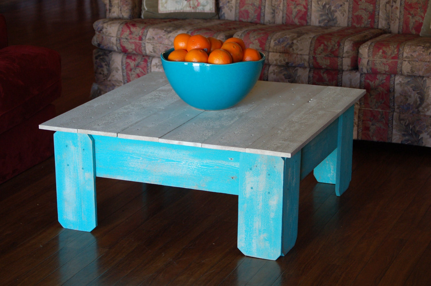 Large Coffee Table Farmhouse Table Square Table Wood Table Teal and White  Table Distressed Blue Table - Cedar Coffee Table Etsy
