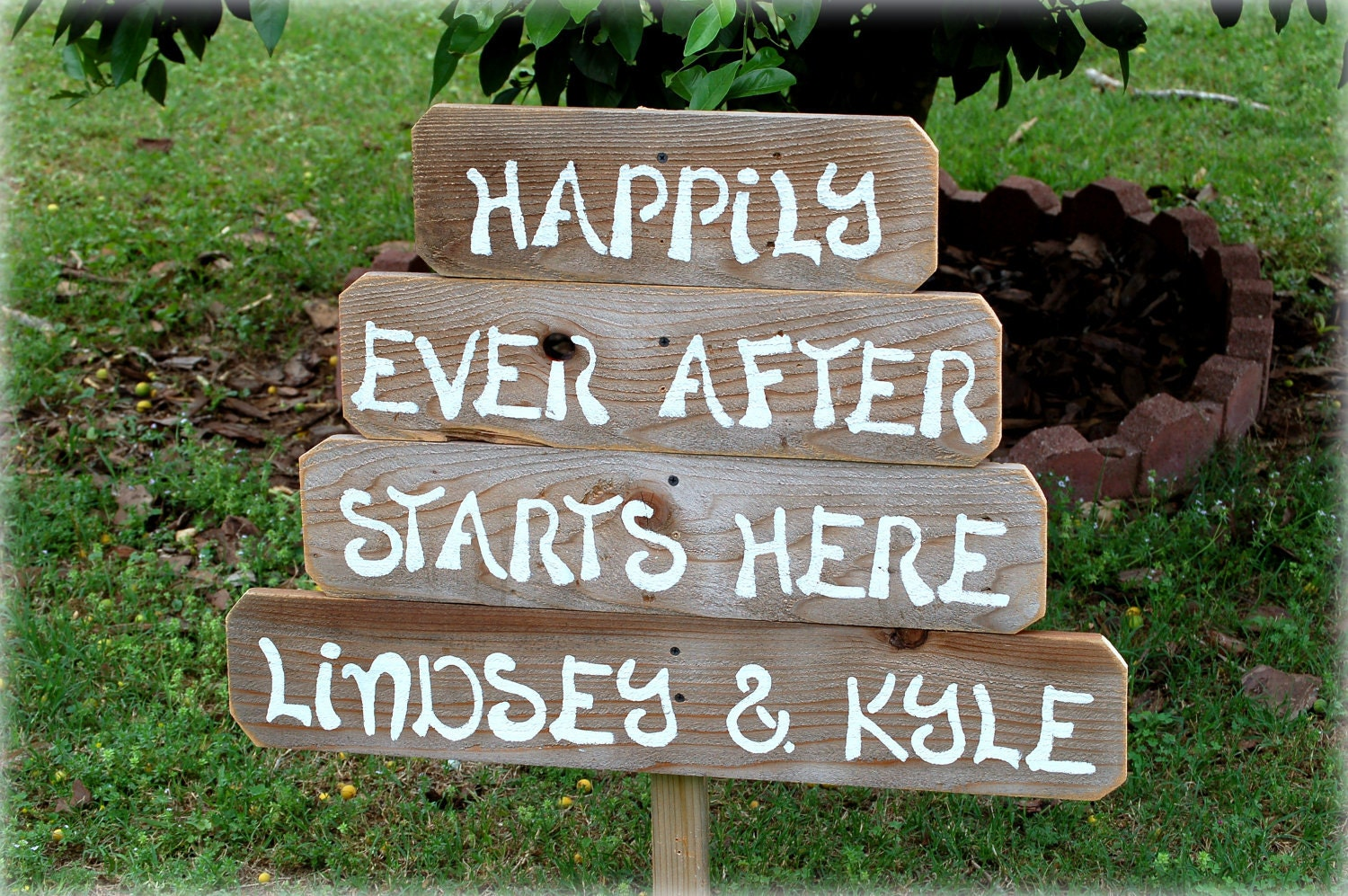 Happily Ever After Starts Here Wedding Sign With Names Outdoor