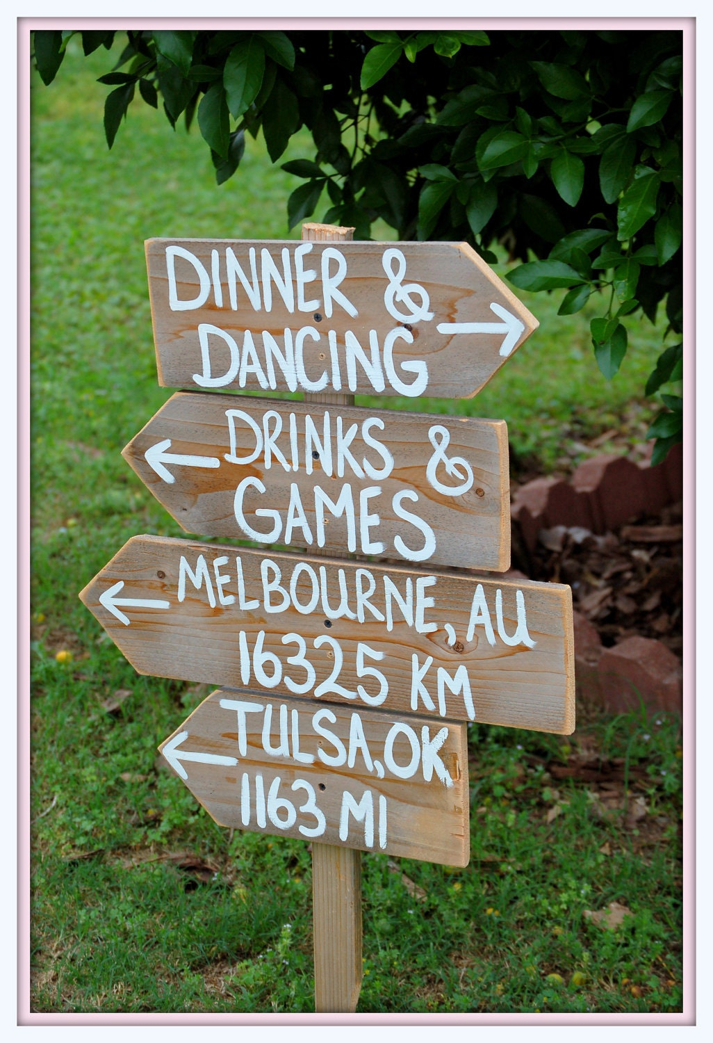 Wanderlust Wedding Signs Reclaimed Wood Directional Arrow