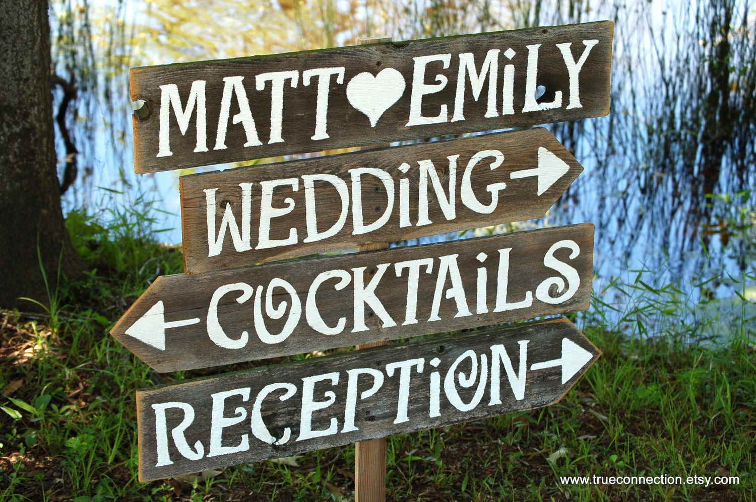 Wedding Signs AND Stake Reclaimed Wood Signs. Reception Signs