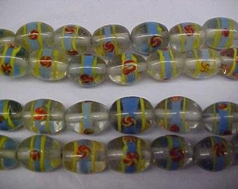 Vintage Lamp Work Glass Beads, Pinwheel Design, Periwinkle Yellow Orange, One Strand, 44 Beads, Jewelry Craft Supply