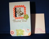 Set of 3 Handmade Stamped Owl THANK YOU Notes \/ Cards - CCPS
