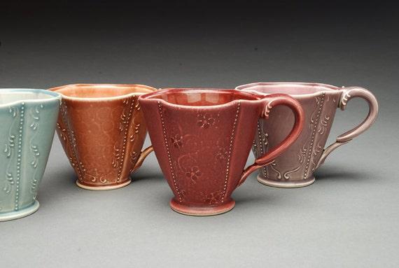 Handmade tea mug, Victorian modern floral in Garnet burgundy red