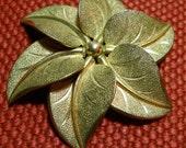 Golden Gilded Bronze Floralia Brooch Holiday Flower