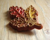 Vintage Plastic Leaves and Acorns with Gold - Fall Leaf Pin Brooch