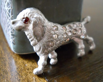 Red Eyed Rhinestone Poodle Dog Brooch