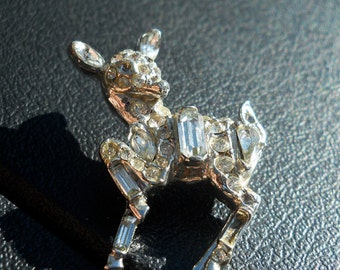 Rhinestone Deer Chrome Brooch