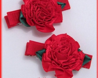 Boutique Little Red Ribbon Rose Dressy Hair Clippies