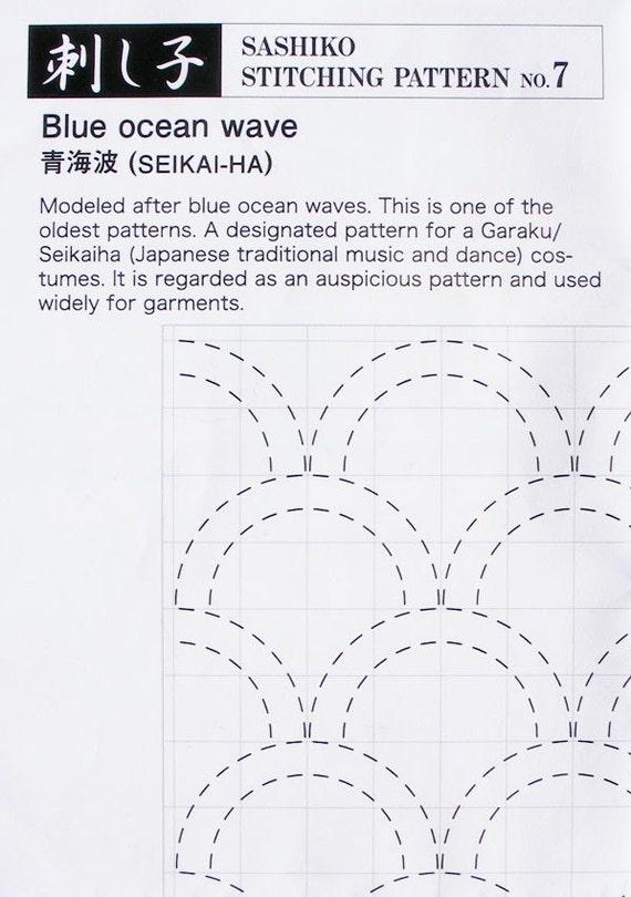 Japanese sashiko paper pattern 7 Seikai Ha Blue Ocean Wave