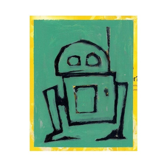 Robot - Original Painting on Reclaimed Cereal Carton - 8 x 10 inches