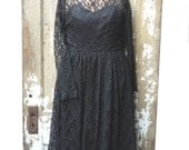 Adorable Vintage Black Lace Witchy Party Dress 1950